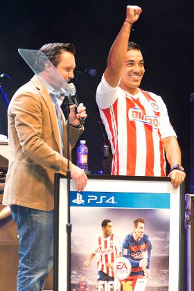 MEXICO CITY, MEXICO - JULY 9: Marco Fabian during the presentation of the FIFA 16 cover, held in the Auditorium Plaza Condesa on July 9, 2015 in Mexico City, Mexico. (Photo by Andres Aquino/Straffonimages/Mandatory Credit/Editorial Use/Not for Sale/Not Archive)