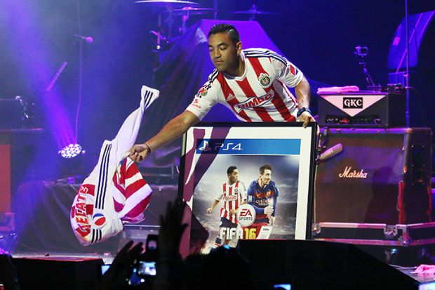 MEXICO CITY, MEXICO - JULY 9: Marco Fabian during the presentation of the FIFA 16 cover, held in the Auditorium Plaza Condesa on July 9, 2015 in Mexico City, Mexico. (Photo by Sandra Bautista/Straffonimages/Mandatory Credit/Editorial Use/Not for Sale/Not Archive)