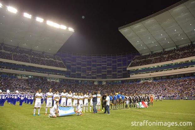 PUEBLA, PUE, MEXICO. NOVEMBER 18th: Initial ceremony during the friendly match between Puebla and Boca Juniors as reopening of the stadium Cuauhtemoc, held at Cuauhtemoc stadium, in Puebla city, Puebla, Mexico.(PHOTO BY VICTOR STRAFFON/STRAFFON IMAGES/MANDATORY CREDIT/EDITORIAL USER/NOT FOR SALE/NOT ARCHIVE)