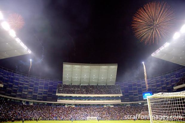 PUEBLA, PUE, MEXICO. NOVEMBER 18th: General view of the stadium during the friendly match between Puebla and Boca Juniors as reopening of the stadium Cuauhtemoc, held at Cuauhtemoc stadium, in Puebla city, Puebla, Mexico.(PHOTO BY VICTOR STRAFFON/STRAFFON IMAGES/MANDATORY CREDIT/EDITORIAL USER/NOT FOR SALE/NOT ARCHIVE)